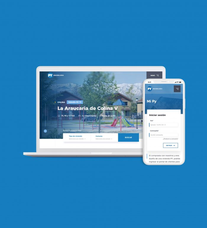 notebook y smartphone con sitio PY inmobiliaria