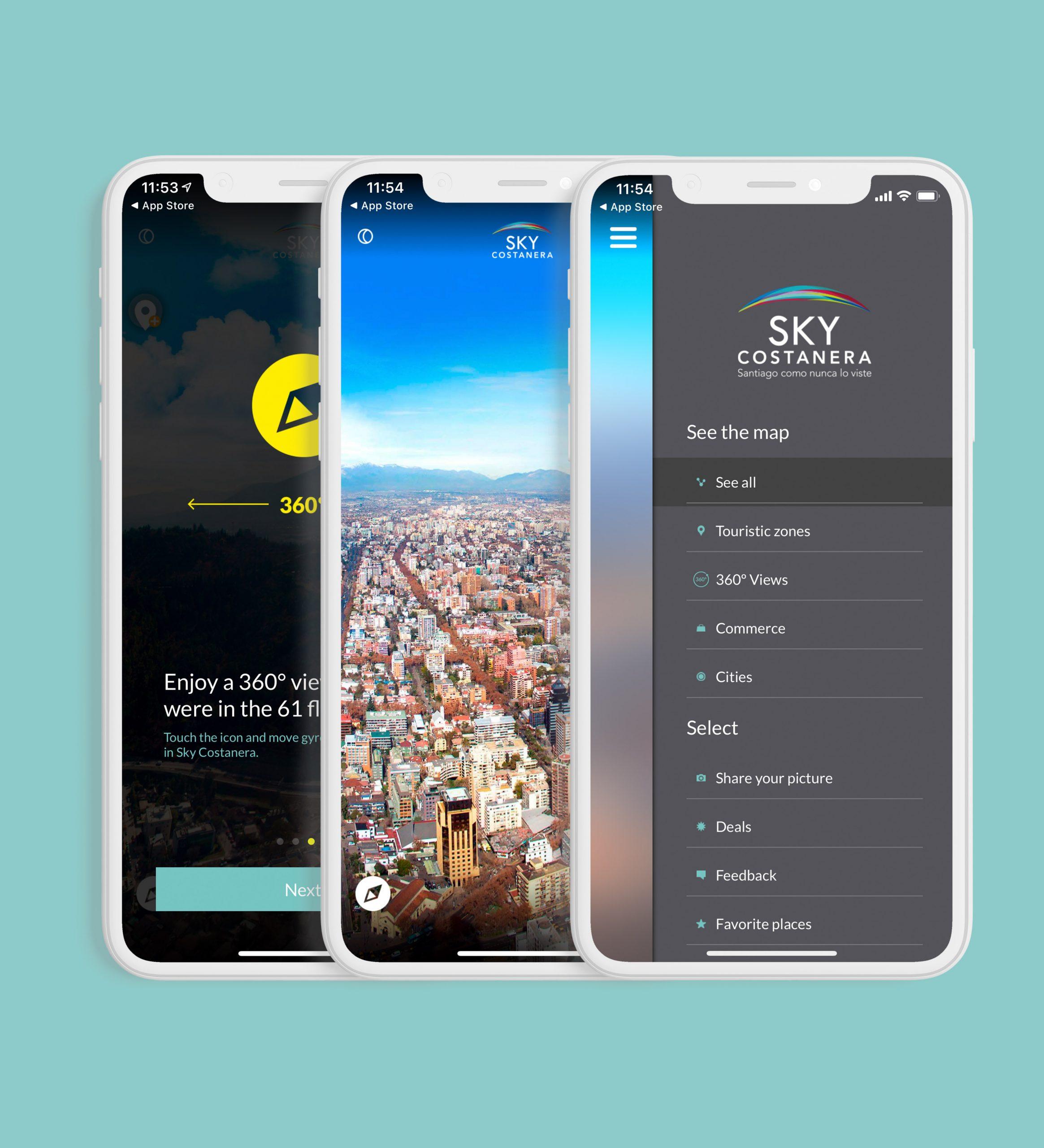 tres smartphones con aplicación Sky Costanera