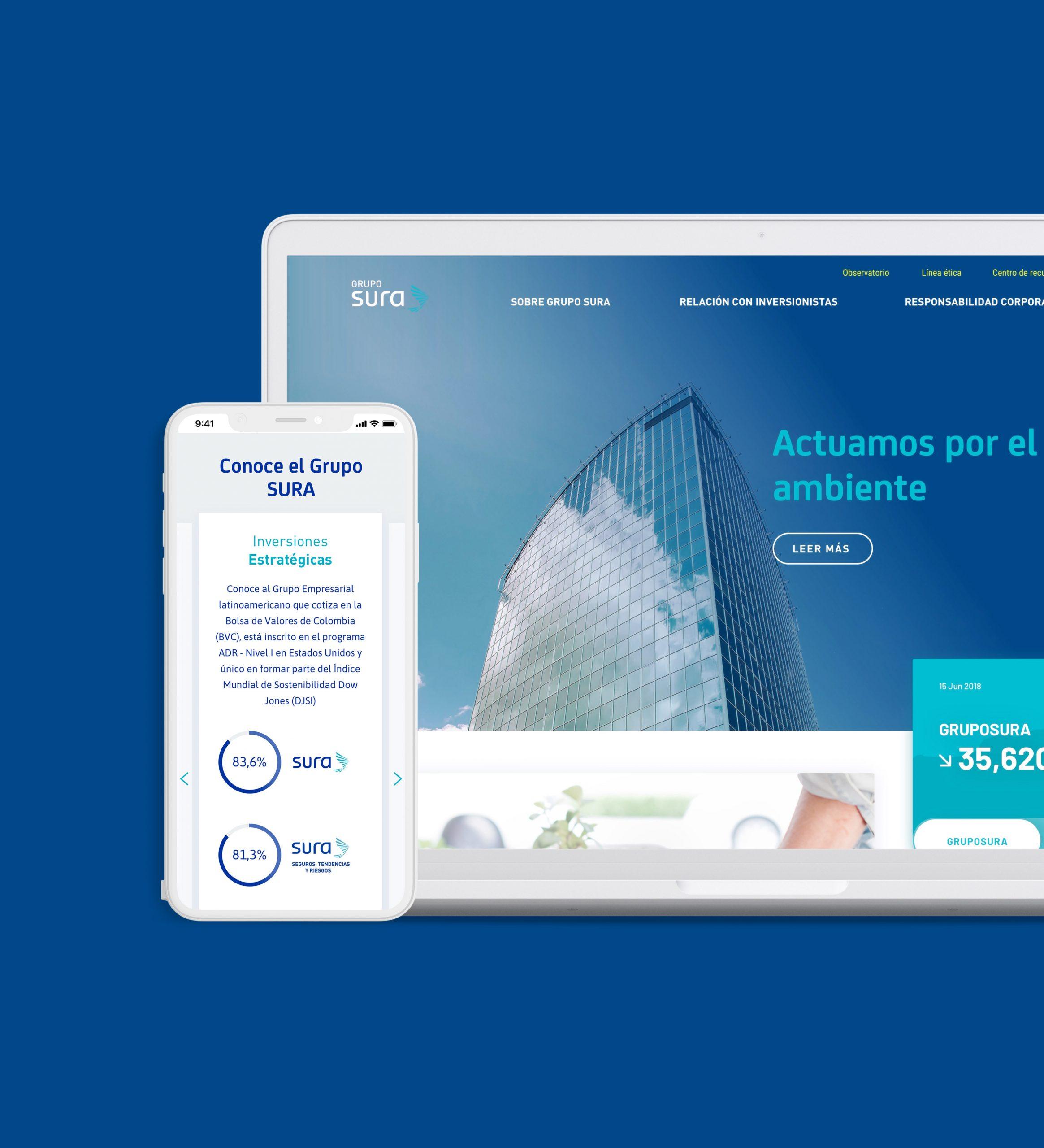 notebook y smartphone con sitio Grupo SURA