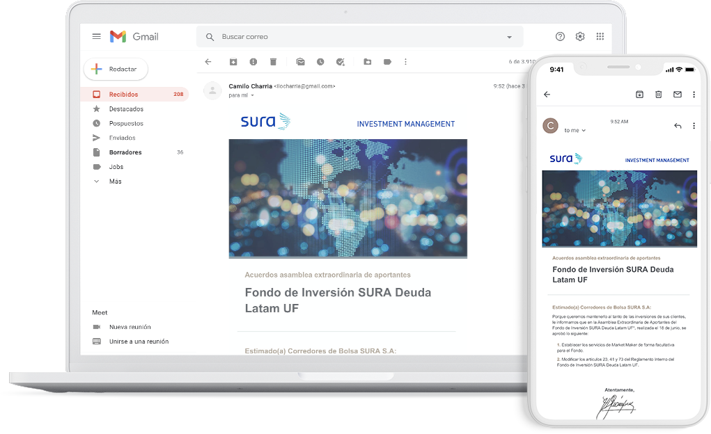 notebook y smartphone con un email de SURA